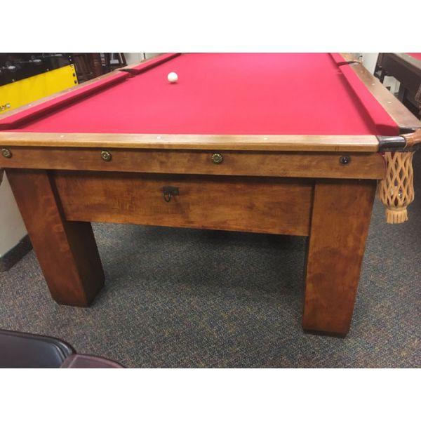 Table billard antique Brunswick Billard 9 x 4-1/2 pieds avec vraie ardoise et tapis neuf rouge - IMG 2