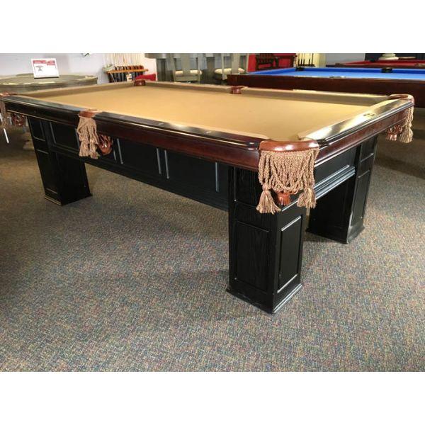 Table de billard démonstrateur de plancher Majestic 4 x 8 Frontenac fini Noyer V1 avec tapis Beige Camel