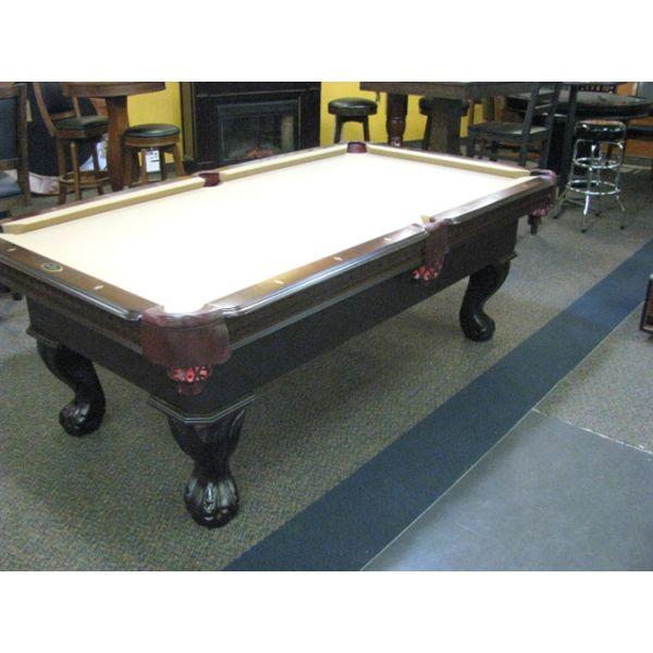 Table de billard modèle démonstrateur neuf Palason Uni-Body 3½ x 7 fini Noyer au tapis Beige Chameau