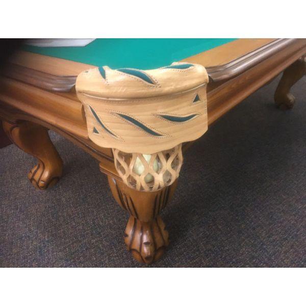 Table de billard usagée Pinnacle Chêne 8 x 4 pieds avec ardoise naturelle, pattes boule - Détail 1