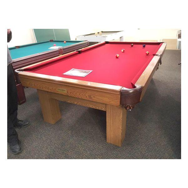 Table de pool usagé 9 pieds Palason Billard Deluxe avec pattes carrées et fini Chêne Moyen - 1