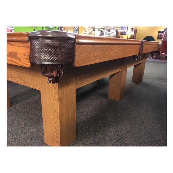 Table de pool usagé 9 pieds Palason Billard Deluxe avec pattes carrées et fini Chêne Moyen - 5