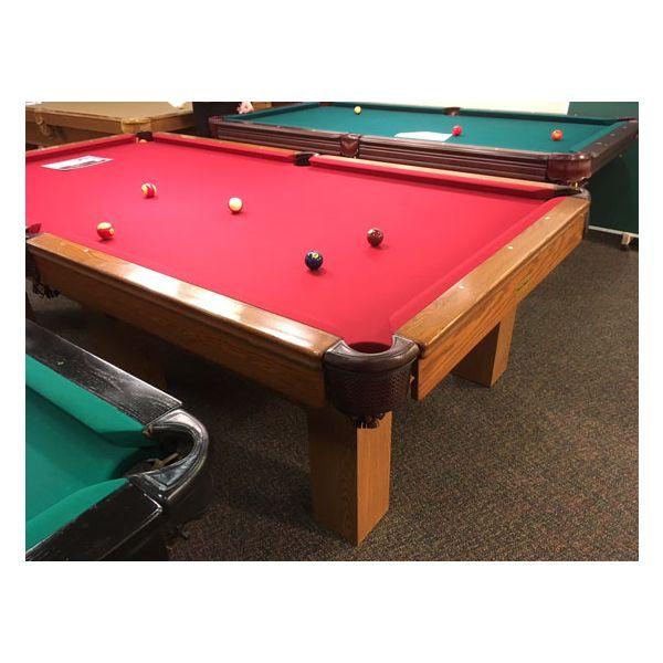 Table de pool usagé 9 pieds Palason Billard Deluxe avec pattes carrées et fini Chêne Moyen - 7