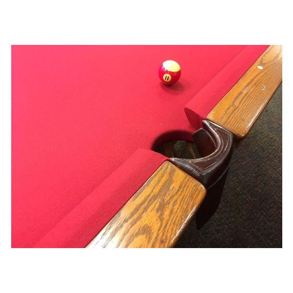 Table de pool usagé 9 pieds Palason Billard Deluxe avec pattes carrées et fini Chêne Moyen - 4