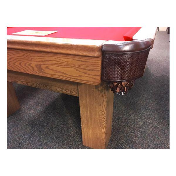 Table de pool usagé 9 pieds Palason Billard Deluxe avec pattes carrées et fini Chêne Moyen - 3