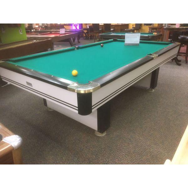Table de billard usagée Palason Maquis 9 x 4½ pieds avec ardoise naturelle et poches chromées - Image 1