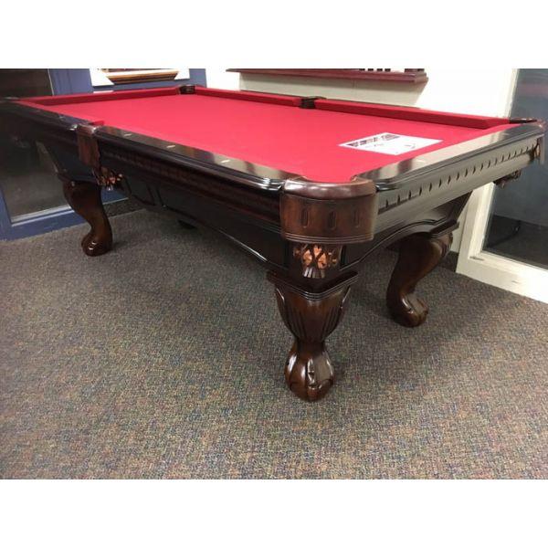 Table de billard format 7 pieds fabriquée en bois massif avec ardoise naturelle et poches en cuir véritable