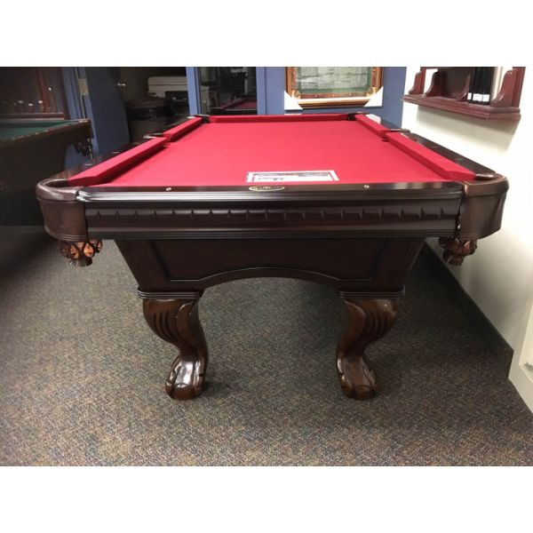 Table de billard format 7 pieds fabriquée en bois massif avec ardoise naturelle et poches en cuir véritable - Vue de face