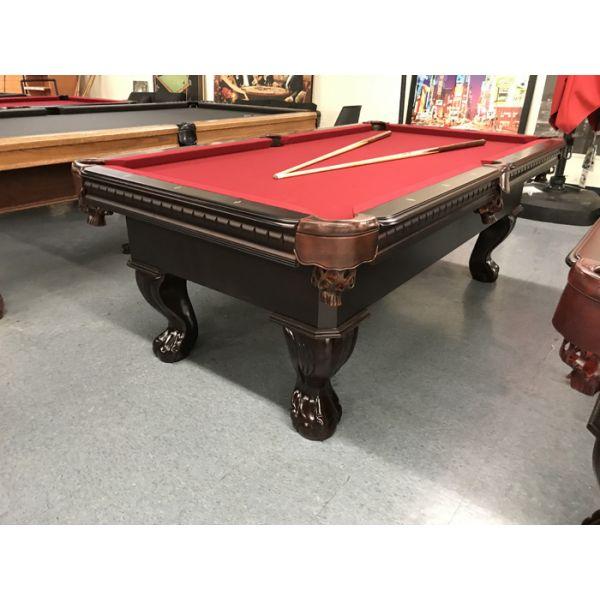 Table de billard modèle démonstrateur neuf Palason Uni-Body 3½ x 7 fini Noyer avec poches en cuir neuves et tapis Bourgogne