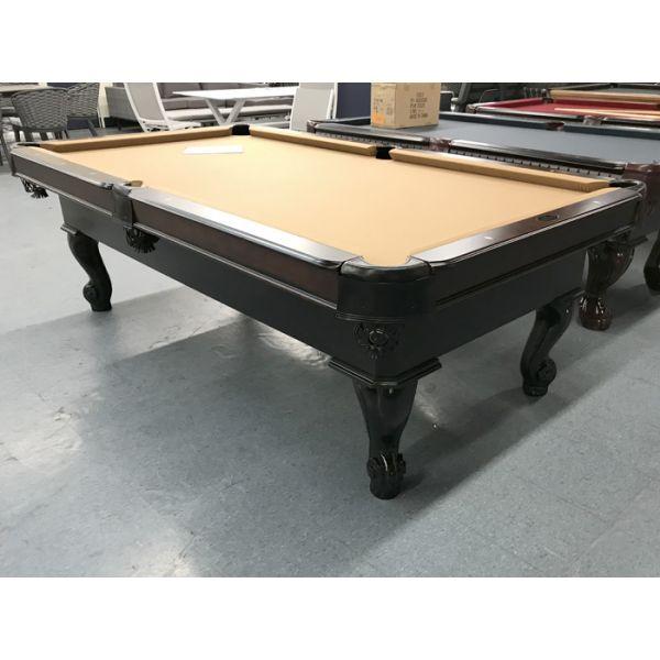 Table de billard modèle démonstrateur neuf Palason Uni-Body 8 pieds au fini Noir et Noyer avec poches en cuir neuves et tapis Beige Sahara
