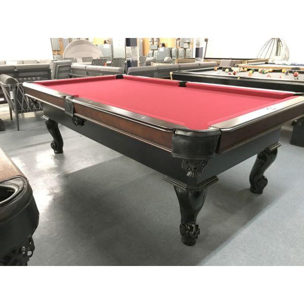 Table de billard modèle démonstrateur neuf Palason Uni-Body 8 pieds au fini Noir et Noyer avec poches en cuir neuves et tapis rouge