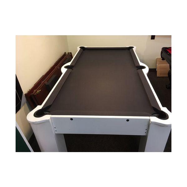 Table de billard usagée blanche avec surface de jeu en MDF de 7 pieds et tapis noir 2
