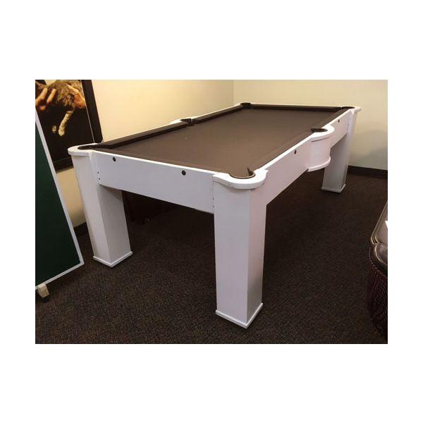 Table de billard usagée blanche avec surface de jeu en MDF de 7 pieds et tapis noir 1