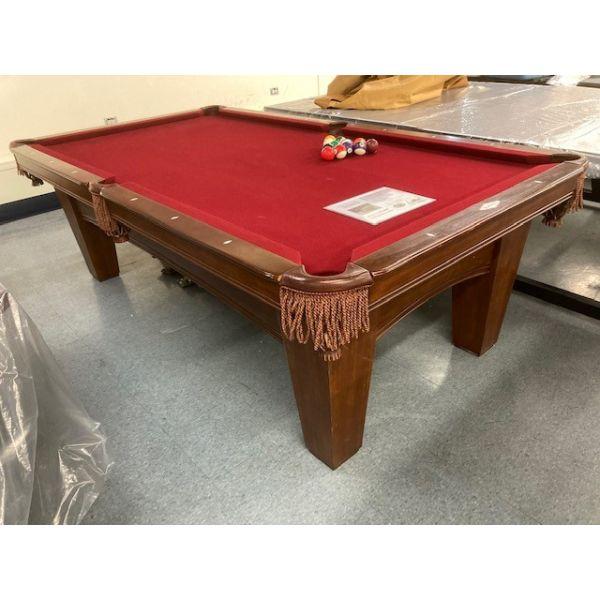 Table de billard usagée Brunswick Bayfield de 8 x 4 pieds avec fini Noisette