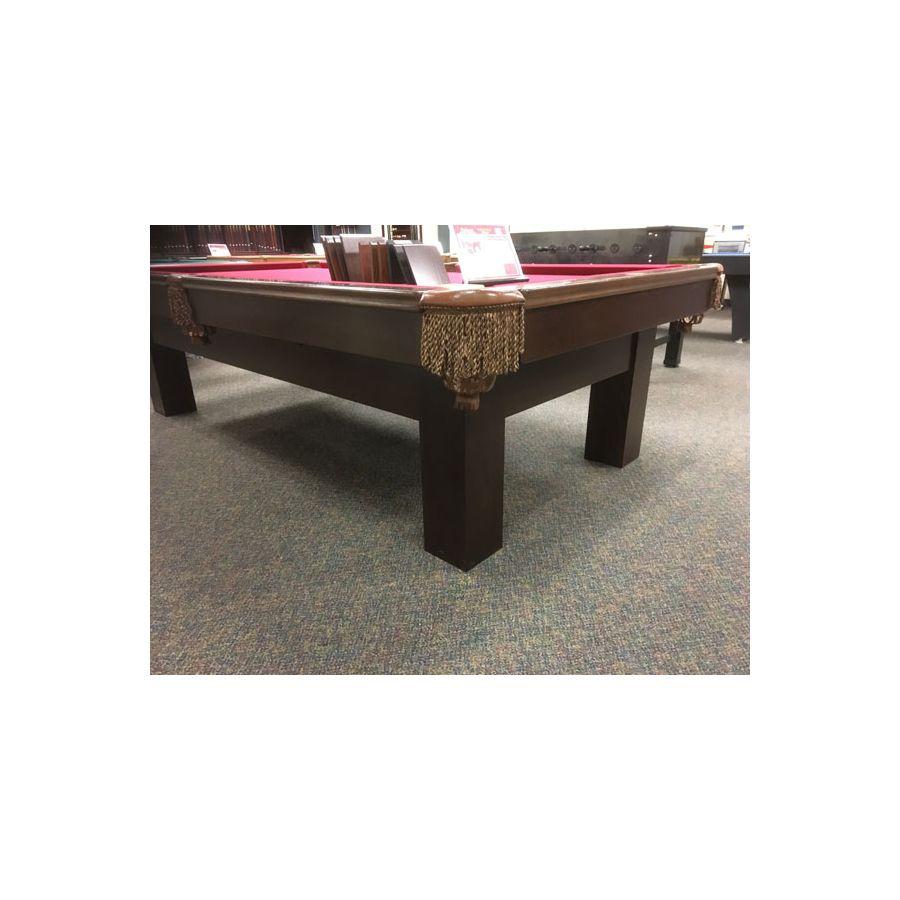 Table de billard 9 x 4-1/2 pieds usagée avec vraie ardoise, bandes en bois  massif et poches en cuir véritable