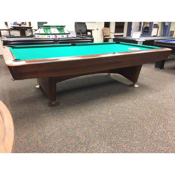 Table billard usagée classique 9 pieds Brunswick Gold Crown - Vue de coté en angle