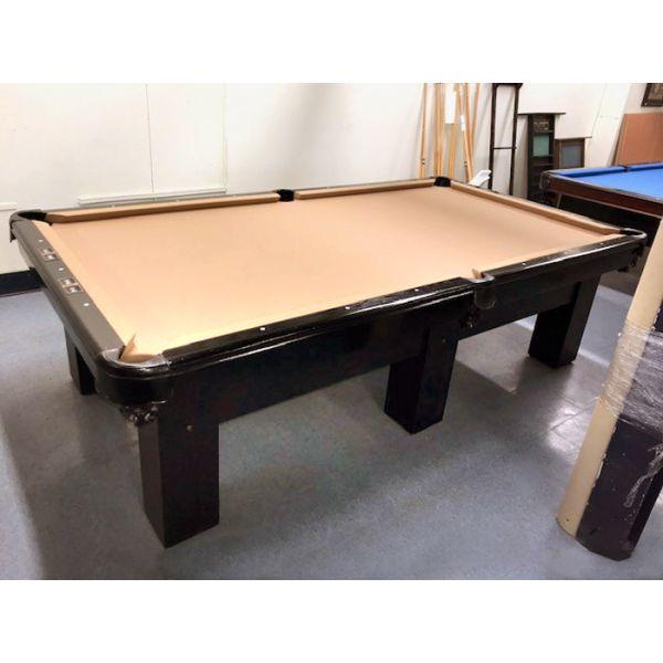 Table de billard usagée à 6 pattes avec ardoise naturelle, poches neuves en cuir véritable et bandes neuves